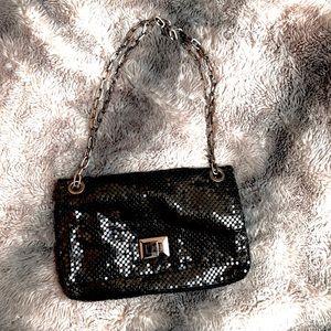 Black mesh flap bag